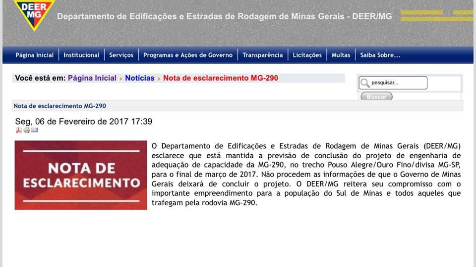Comunicado do DEER/MG