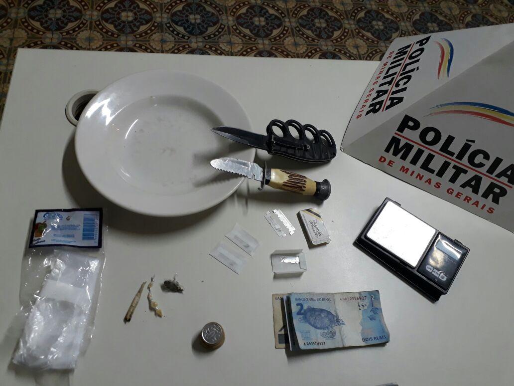 Objetos apreendidos pela Policia Militar.