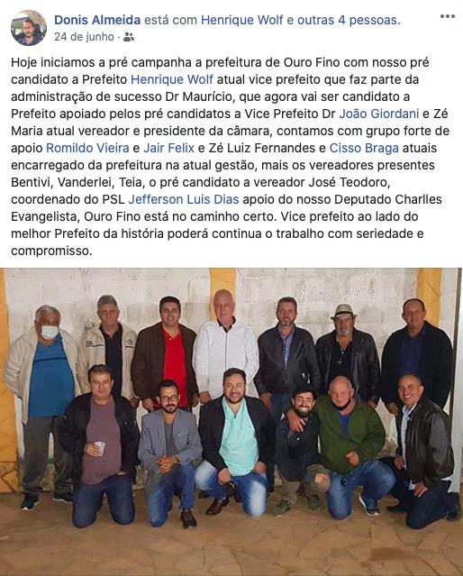Donis Almeida publica apoio a Henrique Wolf nas redes sociais