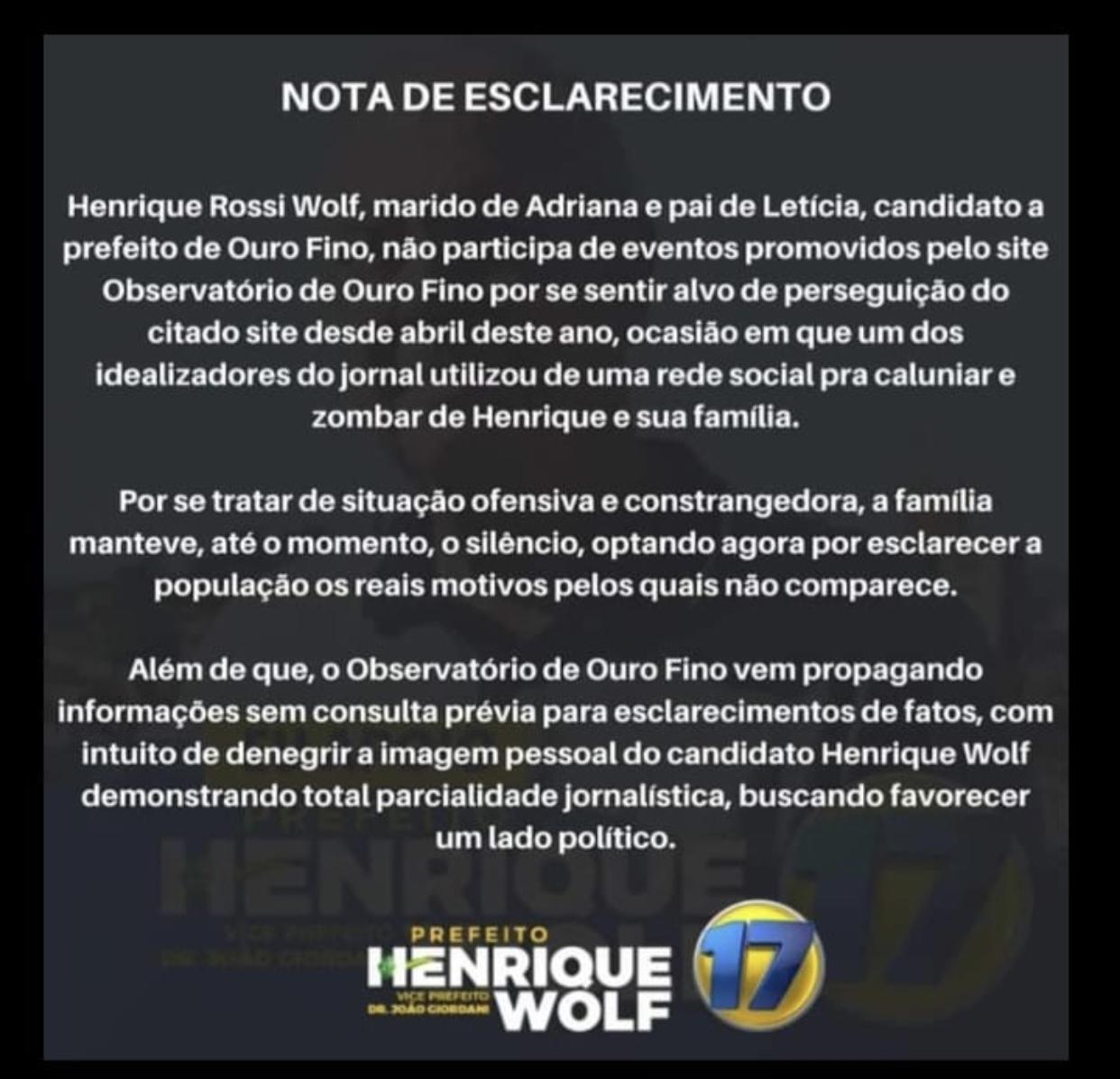 Nota Henrique Wolf