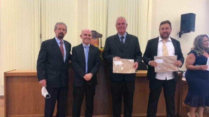 Prefeito Maurício, Juiz Eleitoral João Cláudio Teodoro, Henrique Wolf e João Giordani